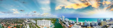 Miami Beach buildings and coastline - Panoramic aerial view at s