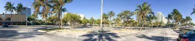 Panoramic view of Fort Lauderdale parking along beach promenade,
