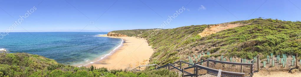 Bells Beach panoramic view, Great Ocean Road coastline, Australi