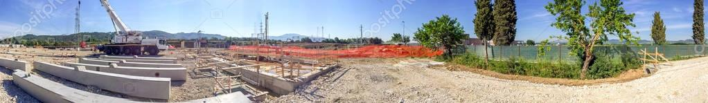 Industrial construction site panoramic view
