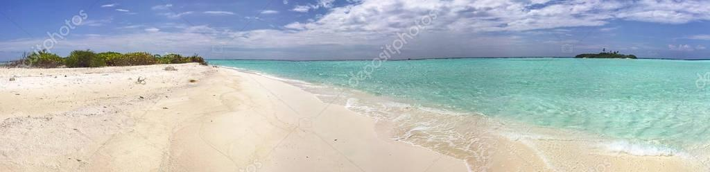 Panoramic view of beautiful maldivian beach