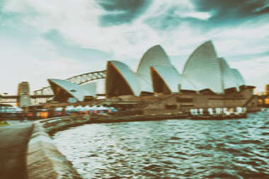 SYDNEY - OCTOBER 2015: Sunset view of skyline with Opera House.
