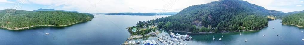 Aerial view of Genoa Bay in Vancouver Island, BC - Canada