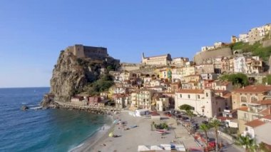 Aerial view of Scilla coastline in Calabria, Italy, video