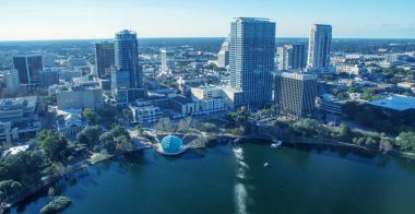 Orlando aerial skyline along Lake Eola.