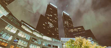 Columbus Circle skyscrapers at night, New York City.