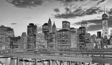 Night view of Downtown Manhattan from Brooklyn Bridge, New York City.