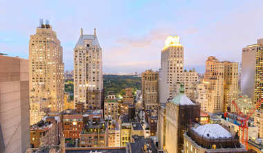 Aerial view of New York skyline on a beautiful evening.