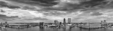 Amazing panoramic black and white aerial view of Jacksonville at dusk, Florida.