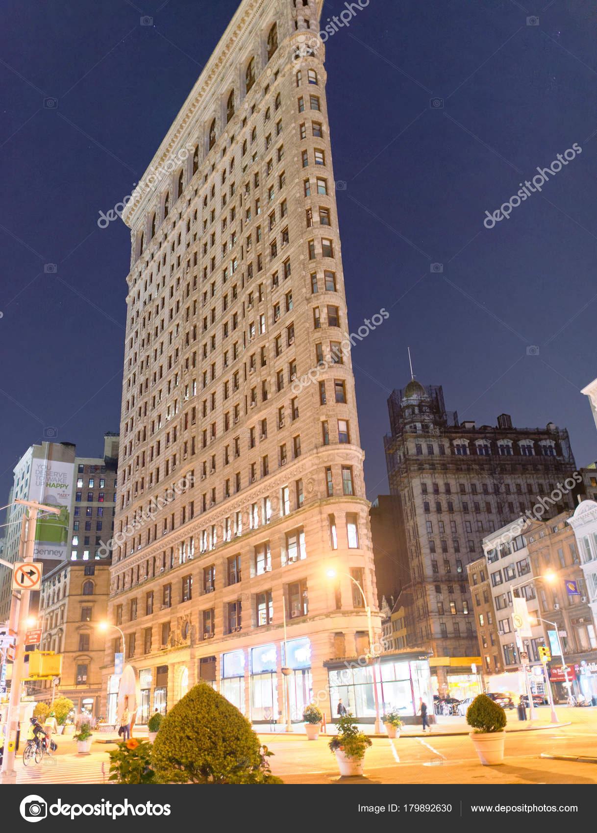 Belangrijke Gebouwen New York.New York City Juni 2013 Flatiron Building Bij Nacht Vanaf