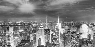 Night lights of Manhattan - Aerial view of New York City - USA.