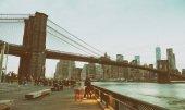 Brooklyn Bridge and Downtown Manhattan at sunset, New York City.