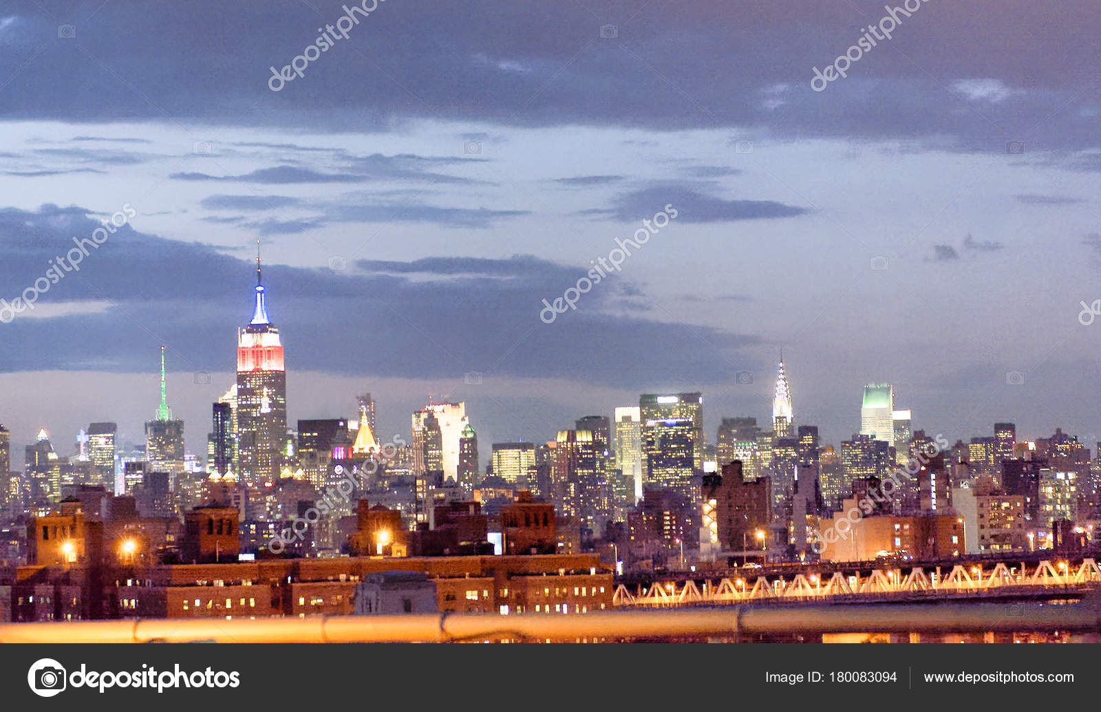 Night View Midtown Manhattan Brooklyn Bridge Stock Photo