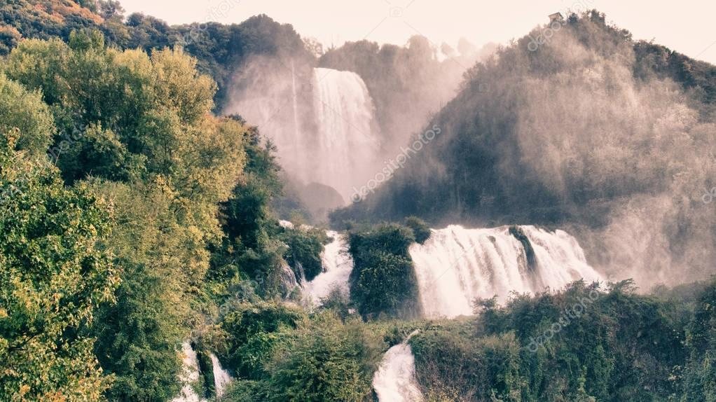 Stunning view of Marmore Waterfalls, Italy