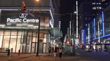 night view of downtown of Vancouver in British Columbia, Canada, video