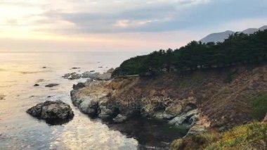 amazing sunset view of ocean coast, video
