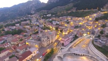amazing aerial sunset view of medieval town. Video