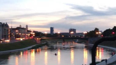 summer aerial cityscape of Vilnius with ancient castle and river, Lithuania, video