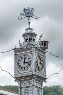 MAHE', SEYCHELLES - SEPTEMBER 15, 2017: Famous city clock tower. The clock tower modeled on that of Vauxhall Clock Tower in London, England.