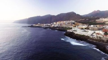 aerial view of Santiago del Teide, island Tenerife, province of Santa Cruz de Tenerife, Canary Islands, Spain. Video
