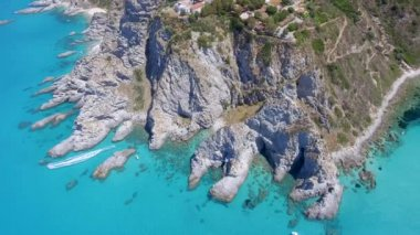 Aerial view of Calabria coastline, Italy, video