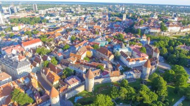Aerial view of Tallinn at sunset, Estonia.