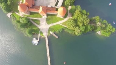 amazing antique architecture of Trakai Castle, Lithuania. Aerial view, video