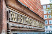 Photo Westminster Cathedral entrance sign, London