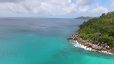 amazing view of Anse Georgette Beach, Praslin island, Seychelles. Video