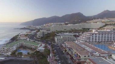 aerial view of Tenerife coastline, Santa Cruz de Tenerife, Canary Islands, Spain, video