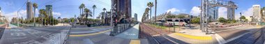 SAN DIEGO, CA - JULY 30, 2017: City streets near Convention Center on a beautiful summer day. San Diego attracts 20 million tourists annually.