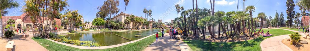 SAN DIEGO, CA - JULY 29, 2017: Panoramic view of Botanical Building and Lily Pond in Balboa Park. This is a famous tourist attraction.