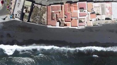 Aerial view of vulcan beach coastline, video