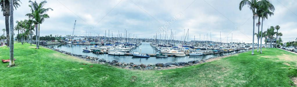 SAN DIEGO, CA - JULY 29, 2017: Panoramic view of Shelter Cove Marina. This is a famous tourist attraction.