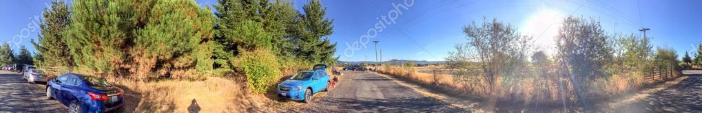 OREGON, USA - AUGUST 21, 2017: Tourists and locals wait for total solar eclipse. This eclipse crosses all the United States.
