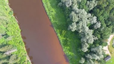 amazing aerial view of Gauja National Park in Vidzeme, largest national park in Latvia, video