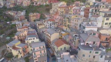 Manarola wonderful panoramic aerial view, Five Lands, Italy, video