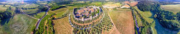 Panoramic 360 degrees aerial view of Monteriggioni and beautiful summer countryside, Tuscany - Italy.