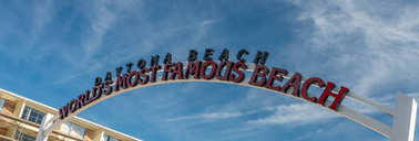 Entrance sign of beach road, Daytona Beach, Florida.