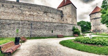 Ancient walls, towers and gardens of Tallinn, Estonia.