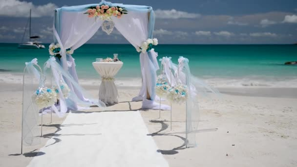 beautiful arch wedding decoration at tropical beach