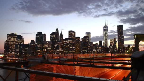 New York Lower Manhattan skyline and Brooklyn Bridge at night, USA