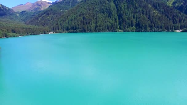 Beautiful mountain lake, overhead panoramic aerial view in summe