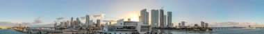 Downtown Miami panoramic aerial view at sunset.