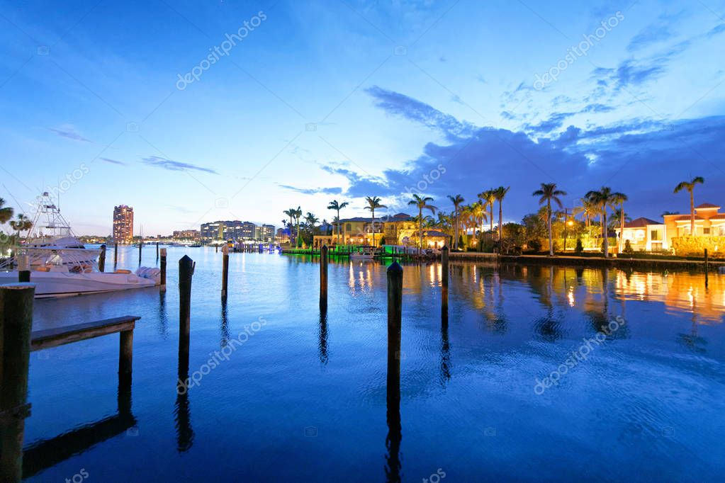Boca Raton homes reflections at night, Florida