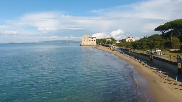 aerial view of beach coastline, Tuscany, Italy, video