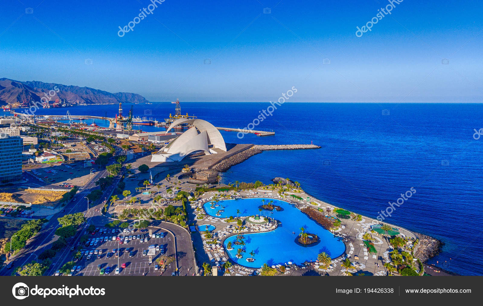 Aerial View Santa Cruz Tenerife Skyline Coast Canary Islands Spain