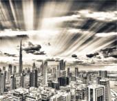 Fotografie Centrum Dubaje při západu slunce z městské řeky, letecký pohled