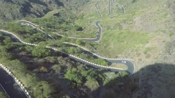 aerial view of windy road at mountains