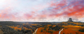 Panoramic aerial view of Devils Tower National Monument at summe